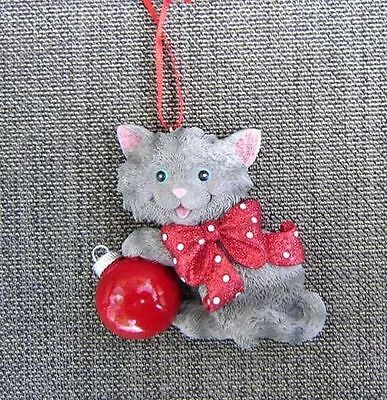 Cat w/Bow GRAY CAT w/Red Ball Christmas Ornament  CLEARANCE SALE