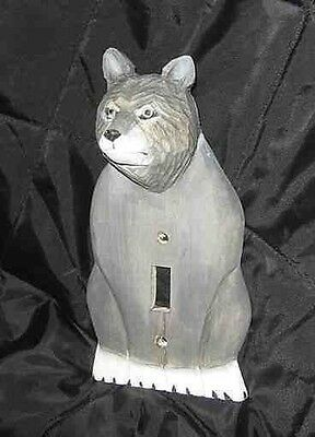 Animal Wood GRAY WOLF Handcarved Single Switchplate CLEARANCE