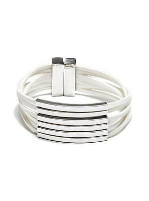 New Guess Polished Silver Tone Bars+White Multi Strands Faux Leather Bracelet