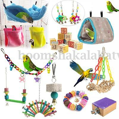 Bird Parrot Toy Bed Hanging Swing Cage Rope Pet Chew Bell Feeder Parakeet Budgie