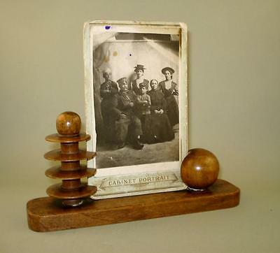 Antique Old Wooden Photo Frame Desk Stand with Old Family Photo