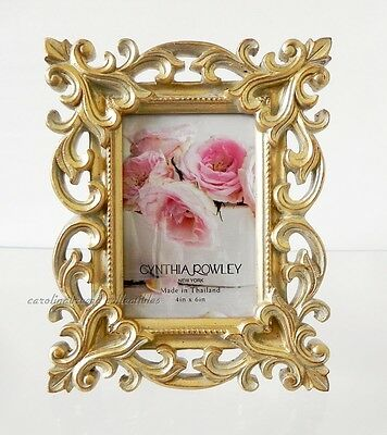 Photo Frame Cynthia Rowley Antiqued Gold Baroque Scrollwork For 4x6 Picture