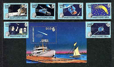 Gambia 650-656, MNH, Halley's Comet, 1986.Comet logo in silver. x20110