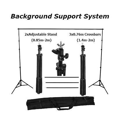 Photography Studio Background Support Stand White Screen Backdrop Kit Set LE