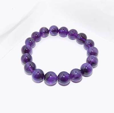 Elasticated bracelet of 18 Amethyst 10 mm Beads NEW Good colour!