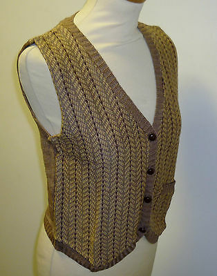 VINTAGE 1970's LADIES KNITTED WAISTCOAT HERRINGBONE PATTERN BROWN SIZE 10 (16)