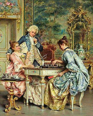 Handmade Oil Painting repro  Arturo Ricci The Game of Chess