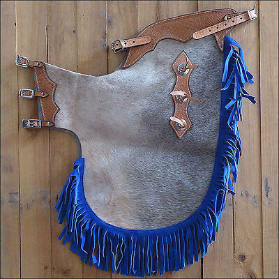 Hilason Western Pro Rodeo Bronc Bull Riding Show Hair On Leather Chinks Chaps
