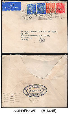 Great Britain - 1948 Air Mail Envelope To Istanbul Turkey With Kgvi Stamps