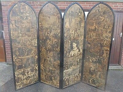 Large Victorian antique paper decoupage 4 fold gothic style room divider screen