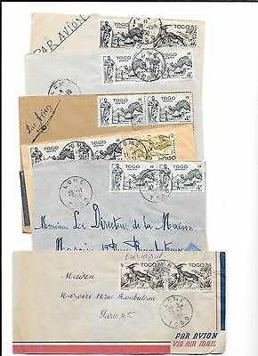 AFRICA(TOGO)-11 mixed covers-all from Tome to Paris (1950-51)-low price