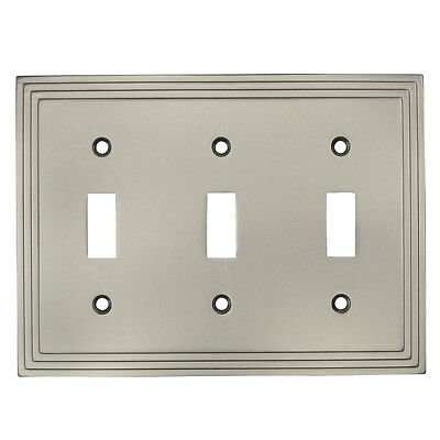 Satin Nickel Triple Toggle Decorative Wall Switchplate Cover 25037-SN