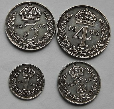 Maundy Set 1896 Penny Twopence Threepence and Fourpence Groat Victoria