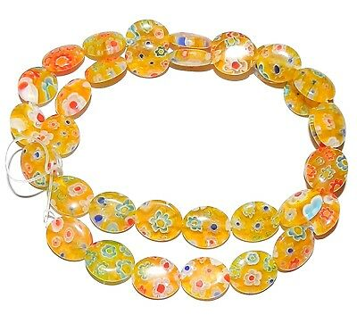 G3043f Yellow w Multi-Color Flowers 12x10mm Puff Oval Millefiori Glass Beads 15""