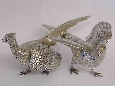 AN EXQUISTE VINTAGE PAIR OF HALLMARKED STERLING SILVER CAST PHEASANTS c1969 310g