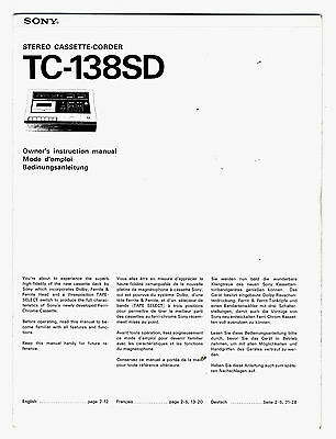 Sony - Tc-138Sd - Owner's Instruction Manual   ( Original  Book  )