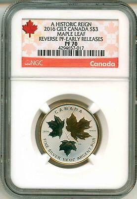 2016 $3 Canada Gilt Maple Leaf A Historic Reign Reverse Proof ER NGC PF70