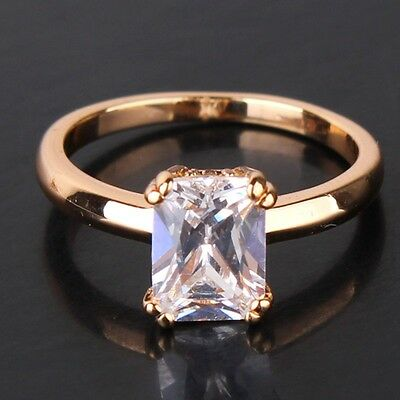New Princess Brilliant White Topaz Solitaire Ring 18K Gold Filled Size 5/6/7/8/9