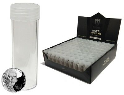 50 Max Protection Premium Nickel Size Coin Tube with Screw on Caps - New Round