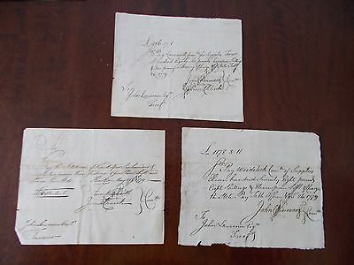 3 Rare Documents Connecticut Comm. Of The Pay Table American Revolution Signed