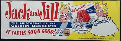1950's Jack & Jill Gelatin Advertising Poster Junior Food Poducts Tyrone, Pa.