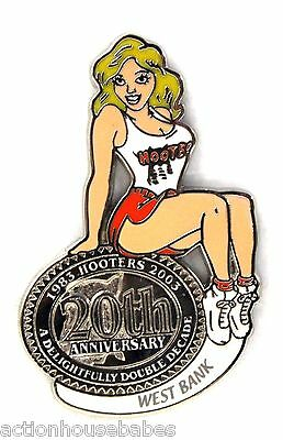 HOOTERS RESTAURANT 20th ANNIVERSARY GIRL WEST BANK LAPEL BADGE PIN