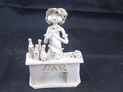 Vintage Dino Bencini sculpture of a BARTENDER and his BAR Made in Italy Signed