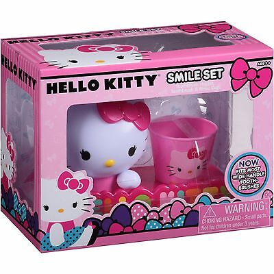 Hello Kitty Smile Toothbrush Set w/ Holder & Rinse Cup & Folding Toothbrush