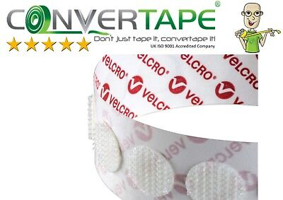 VELCRO® Brand PS14 Self Adhesive Hook & Loop Dots Coins Circles 22mm|2.2cm WHITE