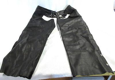Highway Hawks Motorcycle Chaps Black Leather Size XL