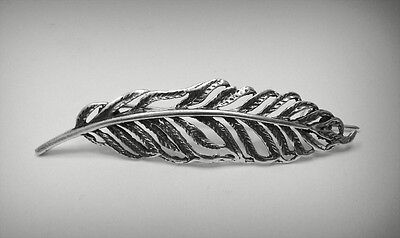 Sterling Silver Brooch Feather Solid 925 A000022 Empress