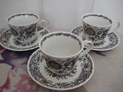 """Ridgway Ironstone Staffordshire  Cups  Saucers X 3. Set. """"clifton"""" . England."""