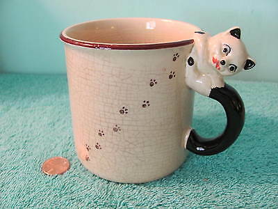 VTG Ceramic Coffee Mug w Cat Kitten Handle, Antique-Like Crazing, MADE IN JAPAN