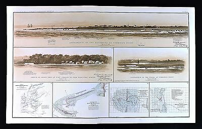 Civil War Map Charleston from Sumter Fort Johnson Cumming's Point South Carolina