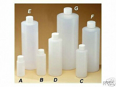 16 oz (473 ml) HDPE Plastic Cylinder Round Bottles w/Caps (Lot of 12)