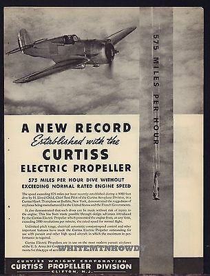 1939 CURTISS HAWK 75 Sets Dive Speed Record Curtiss-Wright Propeller Aircraft AD