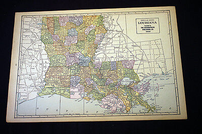 Antique Map 1929 Louisiana or Maryland & Delaware