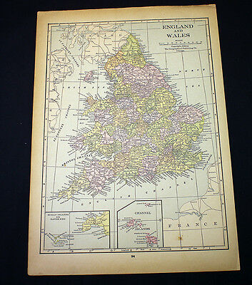 Antique Map 1929 England and Wales