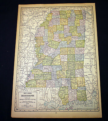 Antique Map 1929 Mississippi
