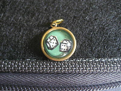 DICE  a pair of gambling dice vintage intaglio reverse carved & painted pendant