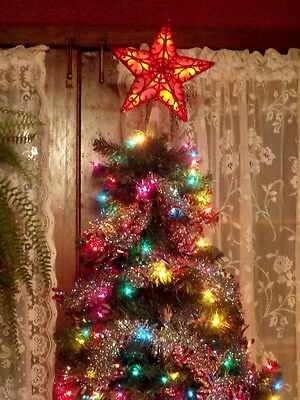 Christmas Led Lighted Red Victorian Scroll Glitter Star Tree Top Topper Window