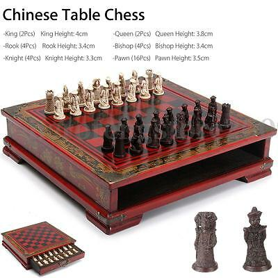 32Pcs / Set Resin Chinese Contemporary Chess + Wooden Table Vintage Gift