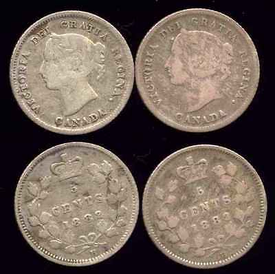 CANADA 1882 H Victoria Silver Five Cents Lot - 2 Pcs. ***