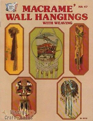 Macrame Wall Hangings With Weaving Vintage Project Pattern Book NEW 1976