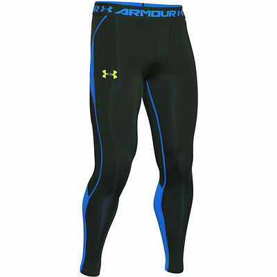 New Under Armour HeatGear Compression Pants Leggings Men's Vented Black Blue NWT