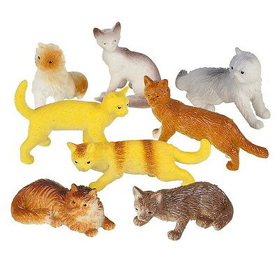 12 Plastic Cat Figures Feline Fun Party Goody Bags Treat Boxes Cupcake Toppers