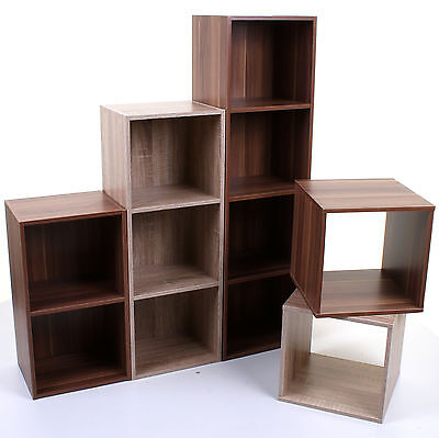 2 3 4 Tier Wooden Bookcase Shelving Display Shelves Storage Unit Wood Shelf Cube