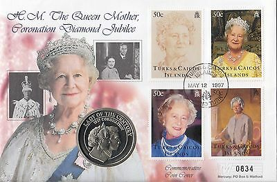 (74437) Turks & Caicos 5 Crown COIN Cover Queen Mother Coronation Jubilee 1997
