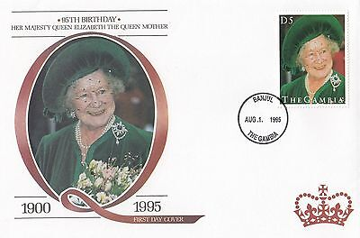 (94814) Gambia FDC Queen Mother 95th Geburtstag Banjul 1 August 1995