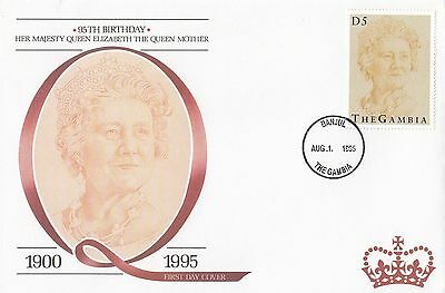 (94815) Gambia FDC Queen Mother 95th Geburtstag Banjul 1 August 1995